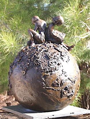 World Is Mine Bronze Sculpture by Annette Everett