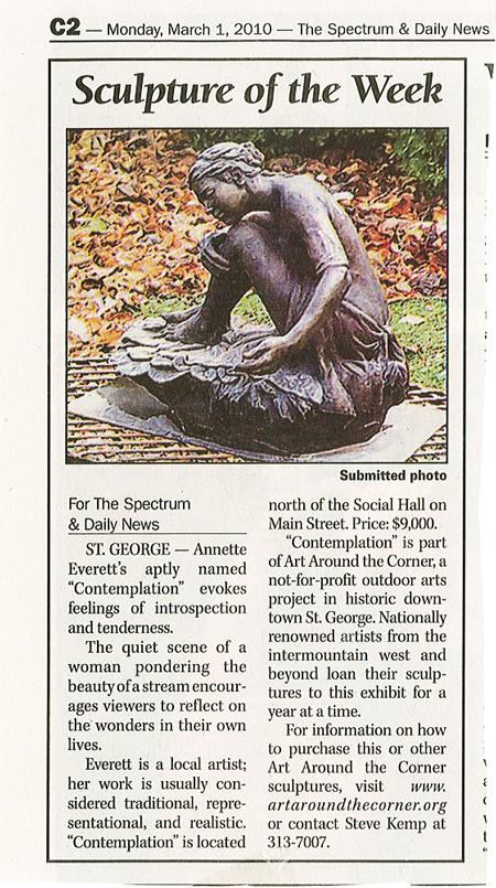 "Contemplation by Annette Everett ""Sculpture of the Week"""